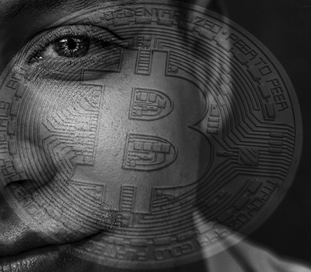 Bitcoin superimposed over student's face